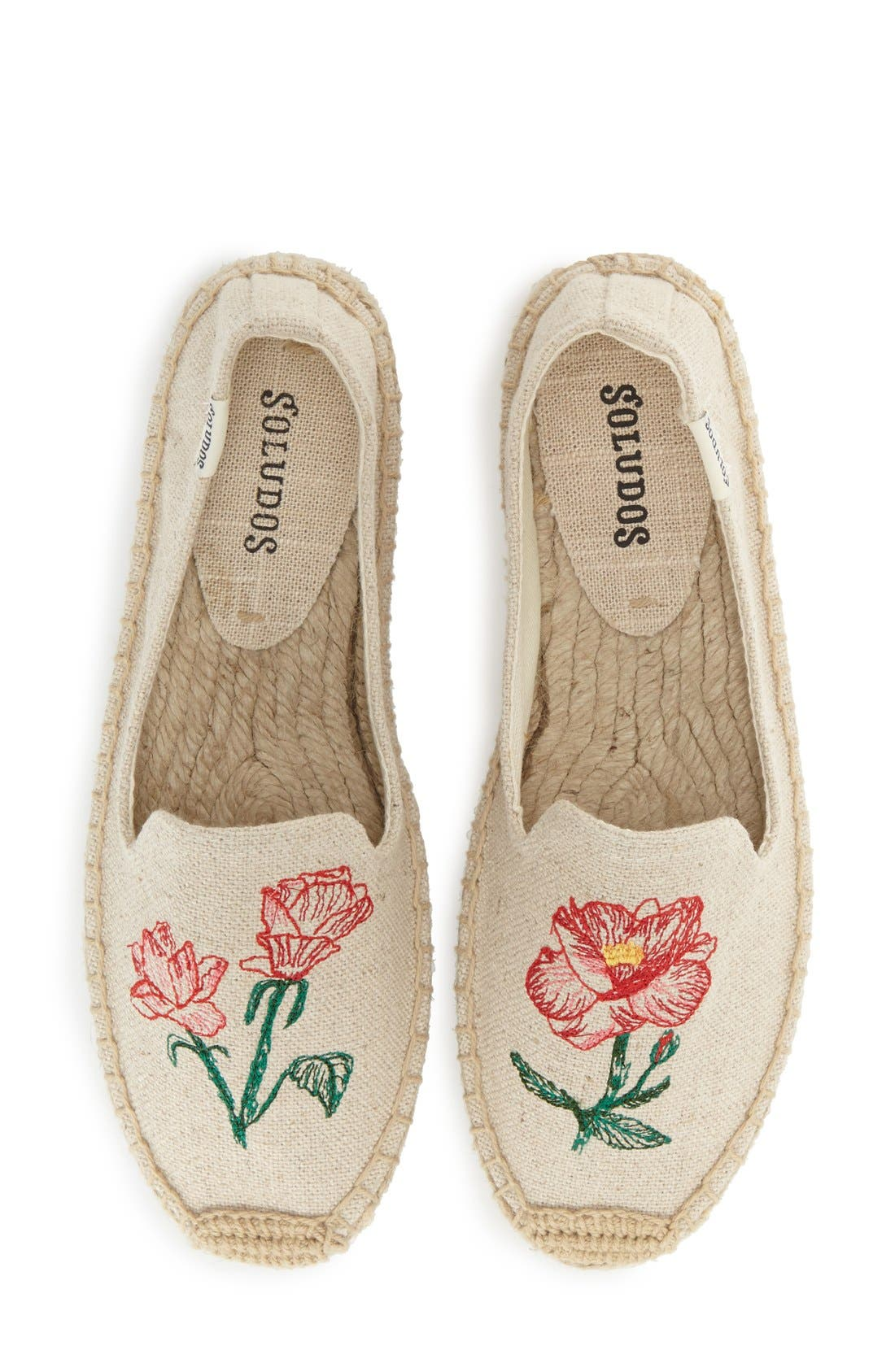 Main Image - Soludos Floral Embroidered Espadrille Slip-On (Women)