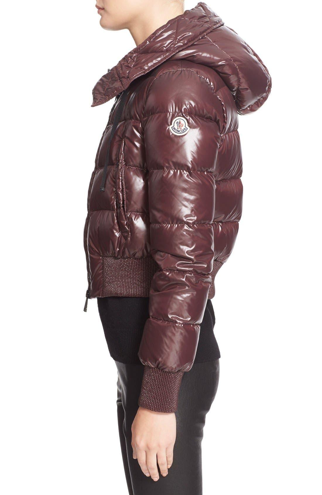 Alternate Image 5  - Moncler 'Sotiria' Water Resistant Shiny Nylon Down Bomber Jacket