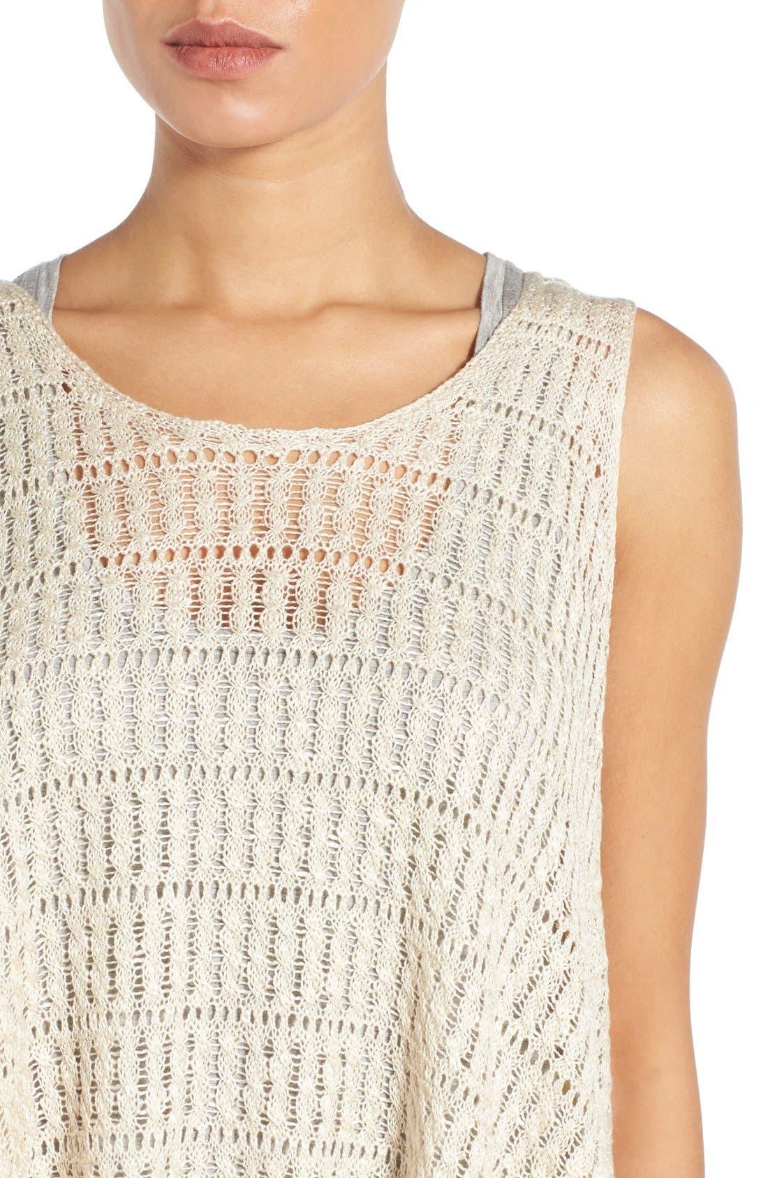 Alternate Image 4  - Wit & Wisdom Fringed Split Back Open Weave Sweater (Nordstrom Exclusive)