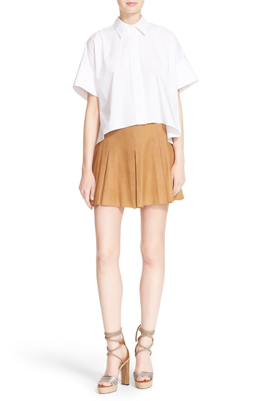 Alternate Image 2  - Alice + Olivia 'Lee' Pleated Suede Skirt