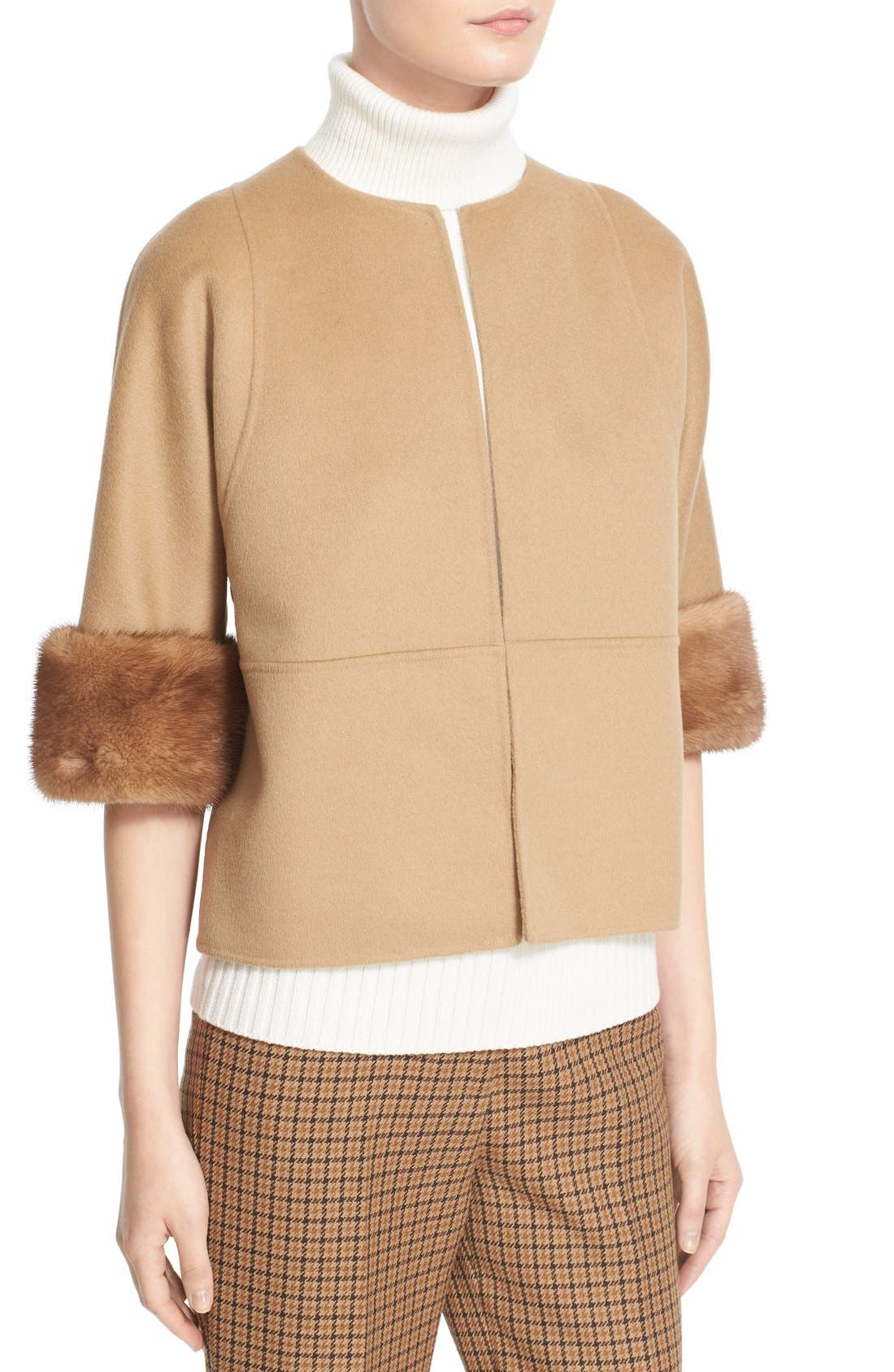 Alternate Image 5  - Michael Kors Genuine Mink Fur Cuff Wool Blend Jacket