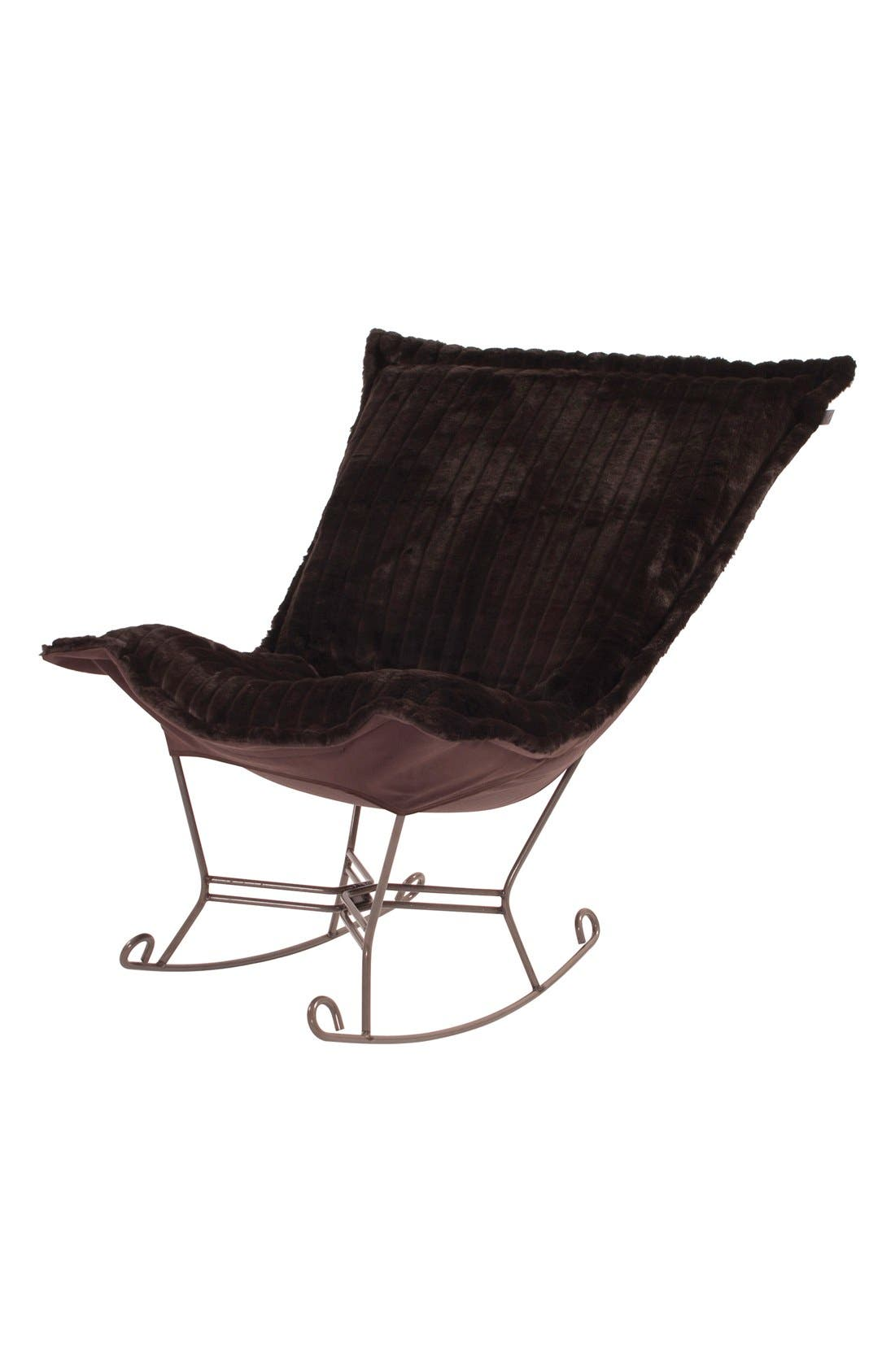 Alternate Image 1 Selected - Howard Elliott Collection 'Scroll Puff' Faux Mink Rocking Chair