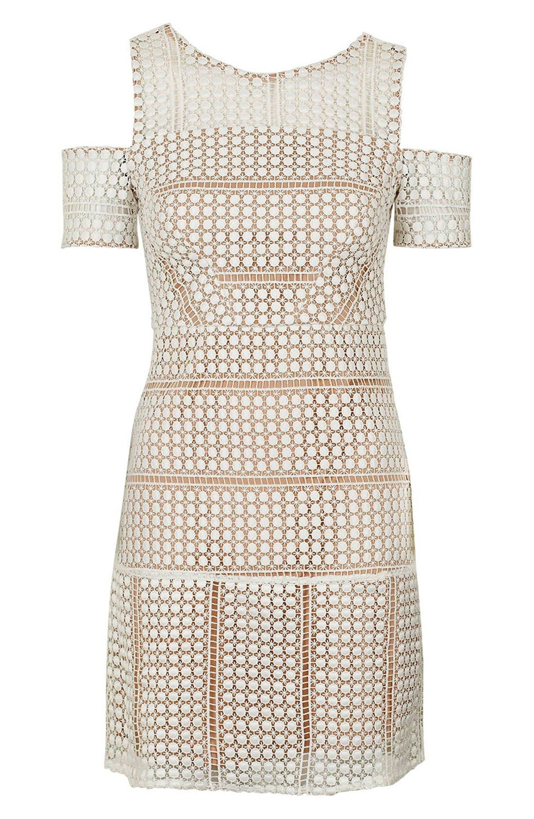 Alternate Image 5  - Topshop Circle Lace Cold Shoulder Dress (Regular & Petite)