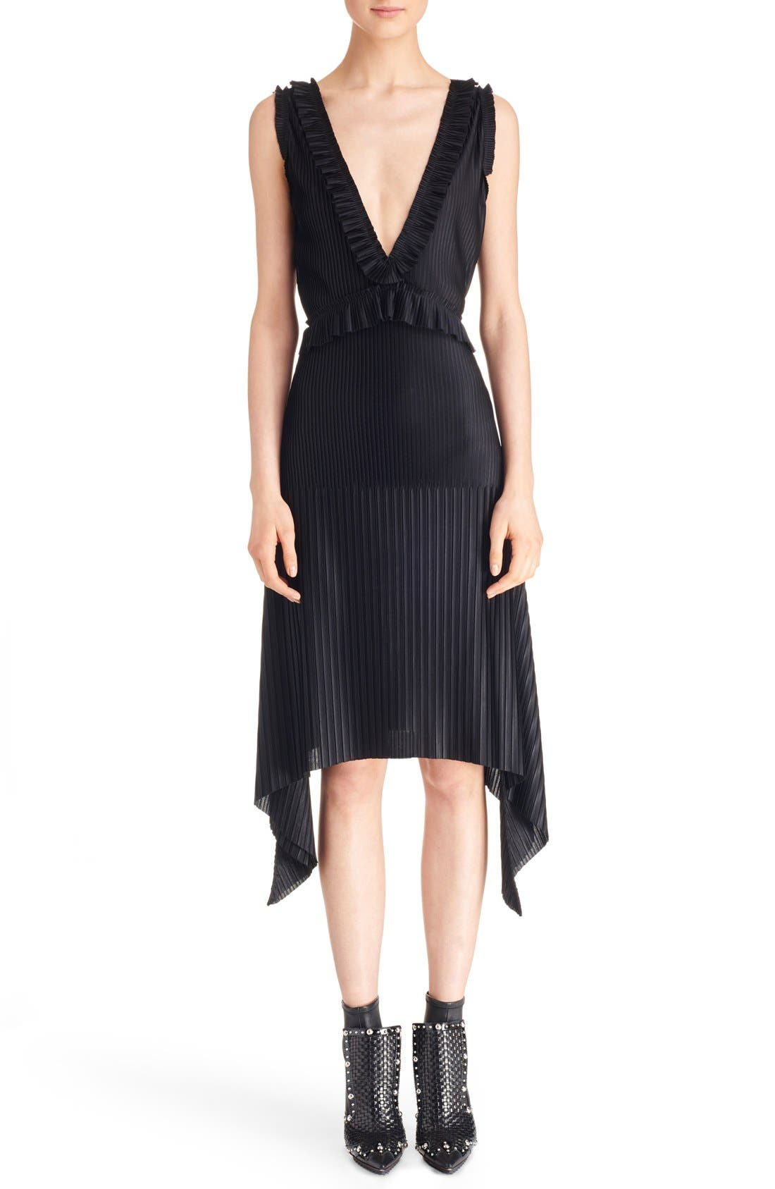 Main Image - Givenchy V-Neck Pleated Jersey Dress