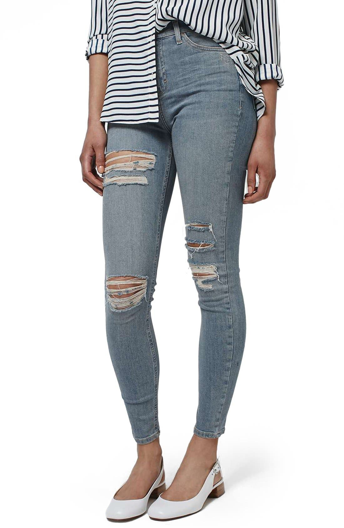 Main Image - Topshop 'Jamie' Ripped Bleached Super Skinny Jeans