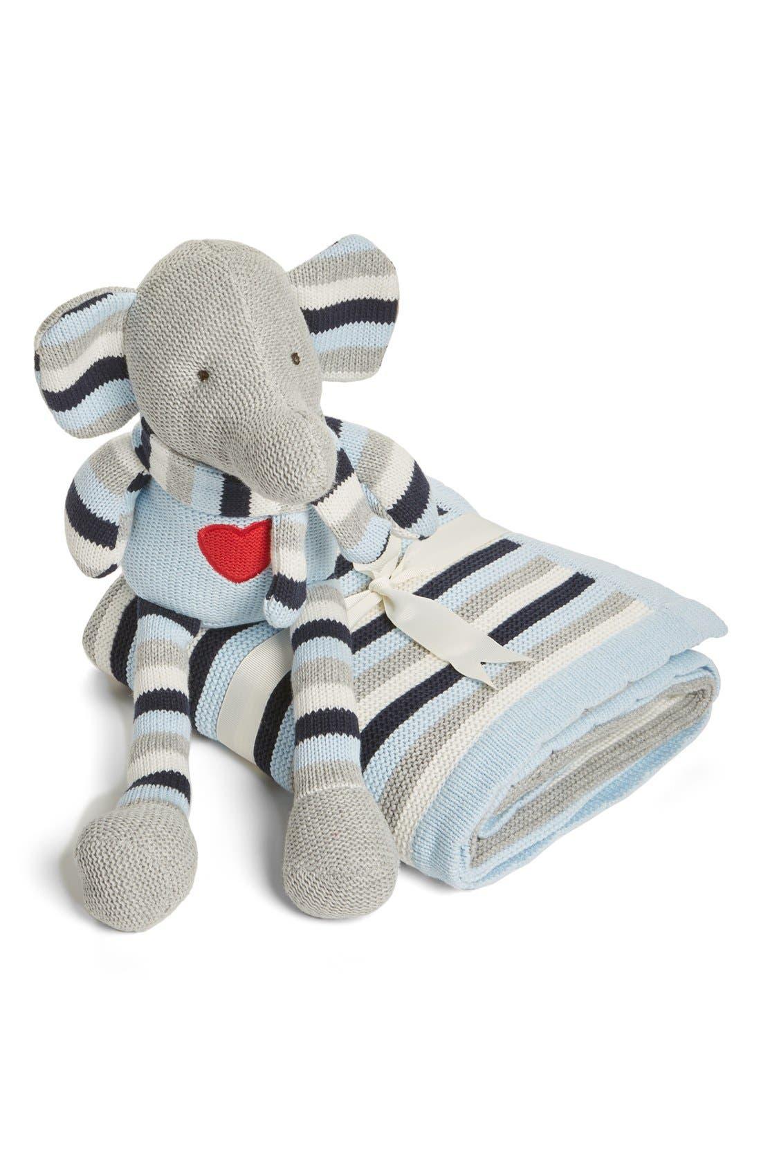 Alternate Image 1 Selected - Elegant Baby 'Knitty Bitty' Plush Knit Elephant Toy & Blanket