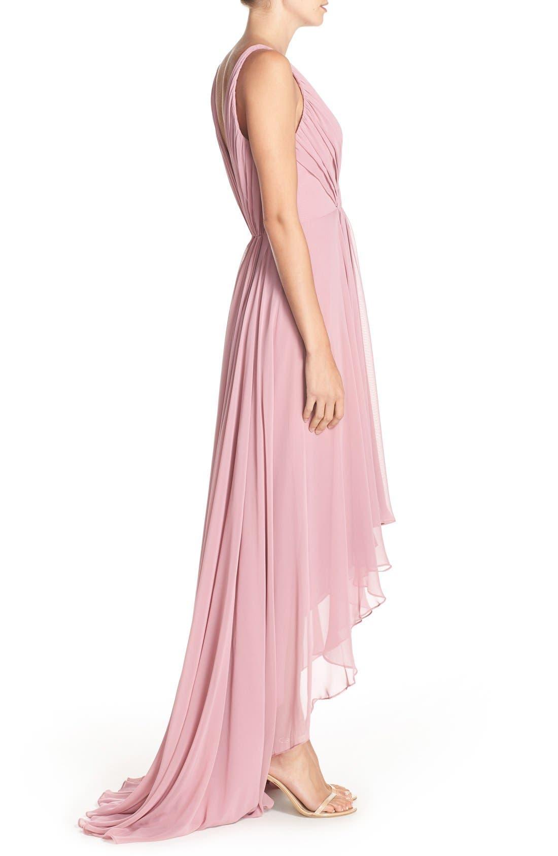 Alternate Image 3  - Monique Lhuillier Bridesmaids Deep V-Neck Chiffon High/Low Gown