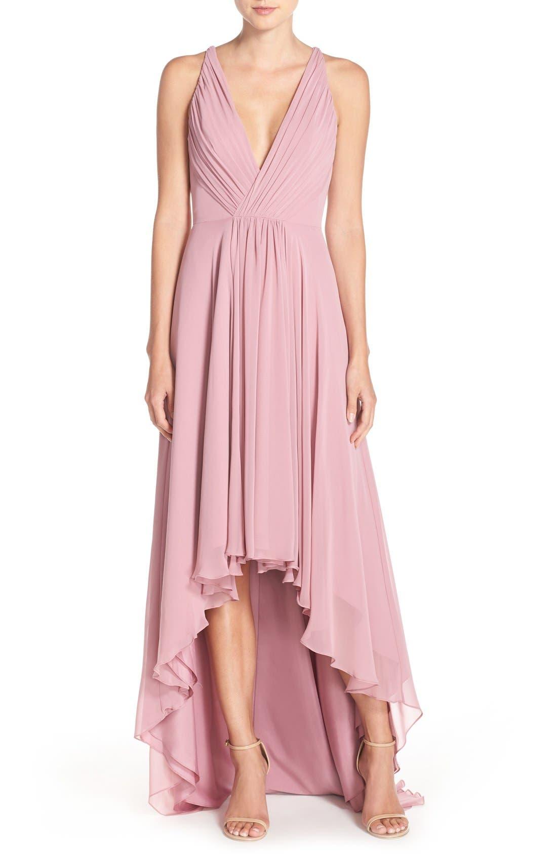Main Image - Monique Lhuillier Bridesmaids Deep V-Neck Chiffon High/Low Gown