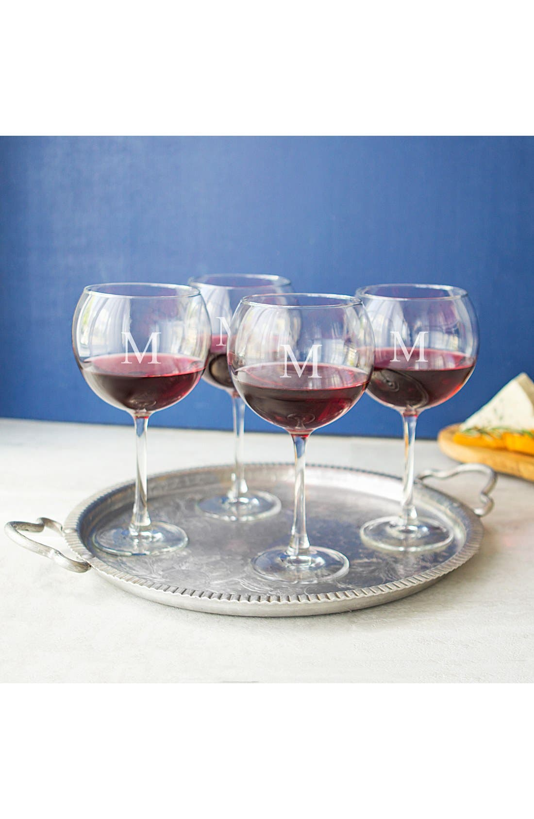 Main Image - Cathy's Concepts Set of 4 Personalized Red Wine Glasses