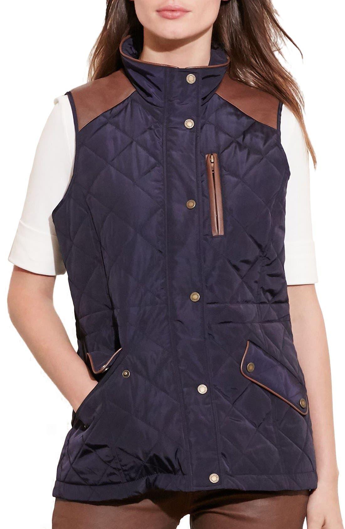 Alternate Image 1 Selected - Lauren Ralph Lauren Quilt Vest (Regular & Petite)