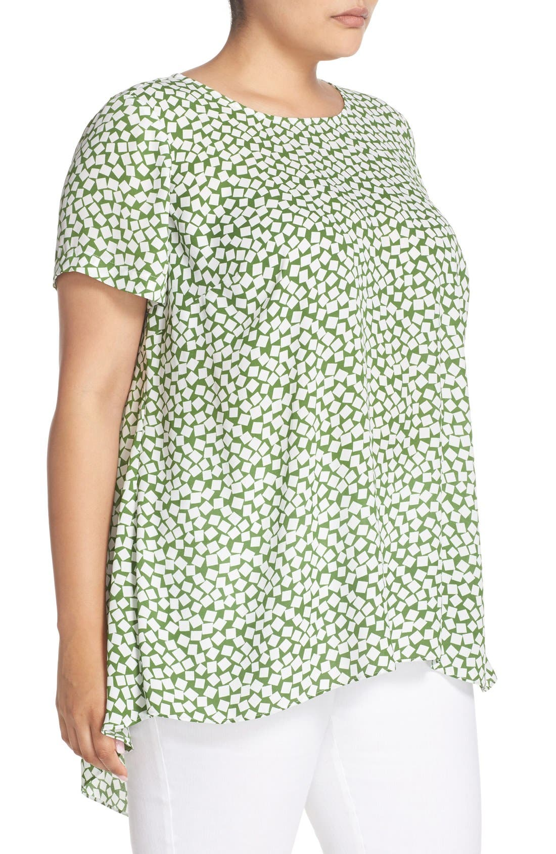 Alternate Image 3  - Vince Camuto 'Falling Cubes' Print Short Sleeve High/Low Blouse (Plus Size)