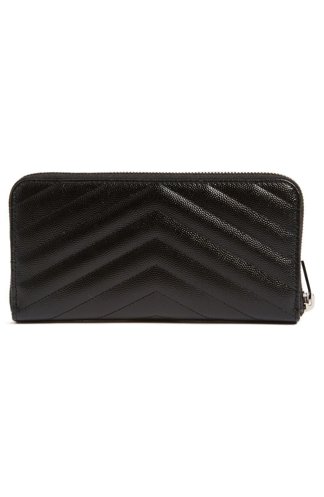 Alternate Image 4  - Saint Laurent 'Monogram' Zip Around Quilted Calfskin Leather Wallet