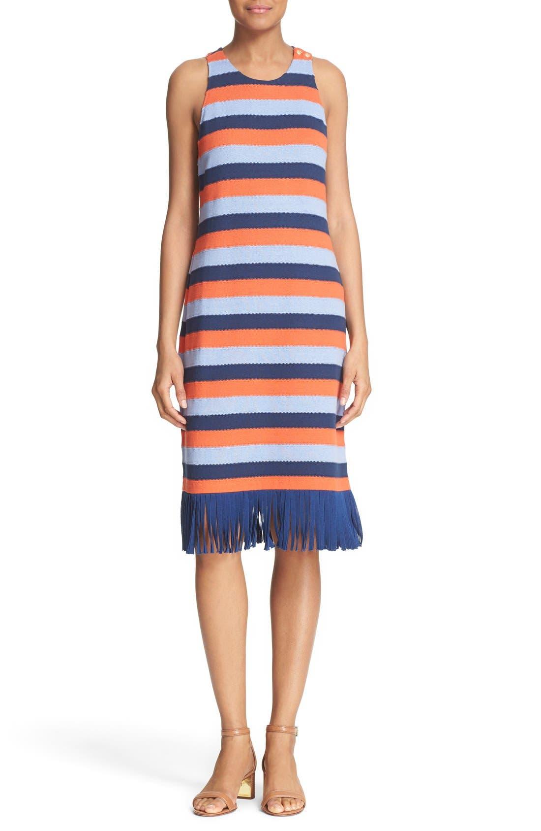 Main Image - Tory Burch 'Ariana' Fringe Hem Stripe Tank Dress