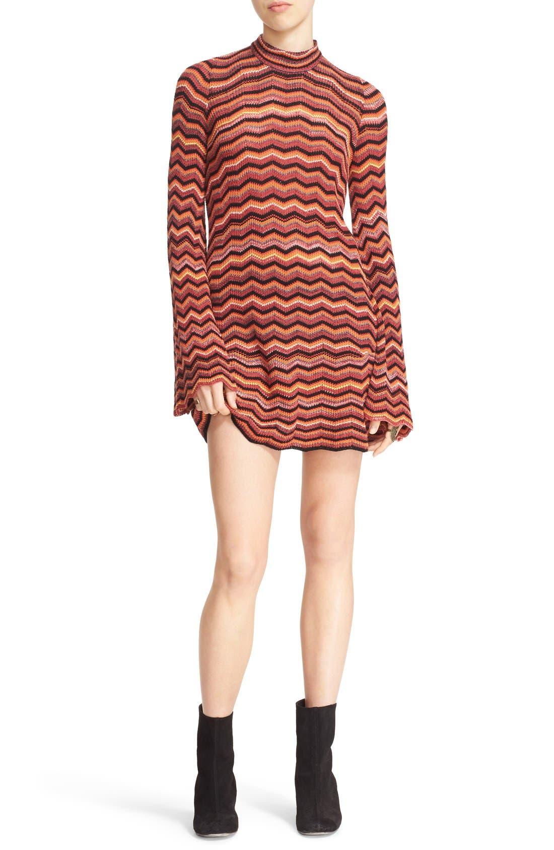 Main Image - Free People Ziggy Bell Sleeve Stripe Sweater Dress