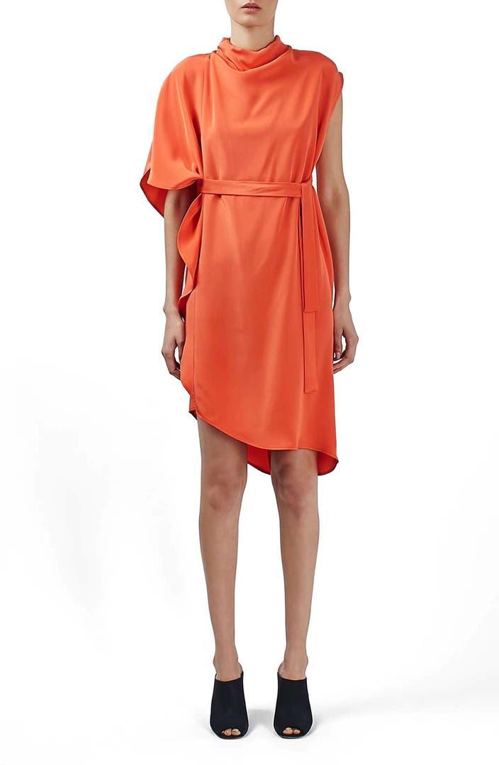 Topshop boutique 39 waterfall 39 asymmetrical silk dress for Waterfall design dress