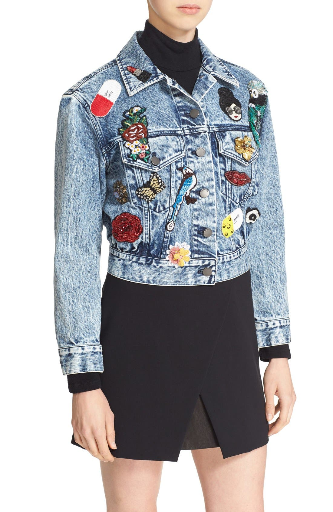 Alternate Image 4  - Alice + Olivia 'Chloe' Embellished Crop Denim Jacket
