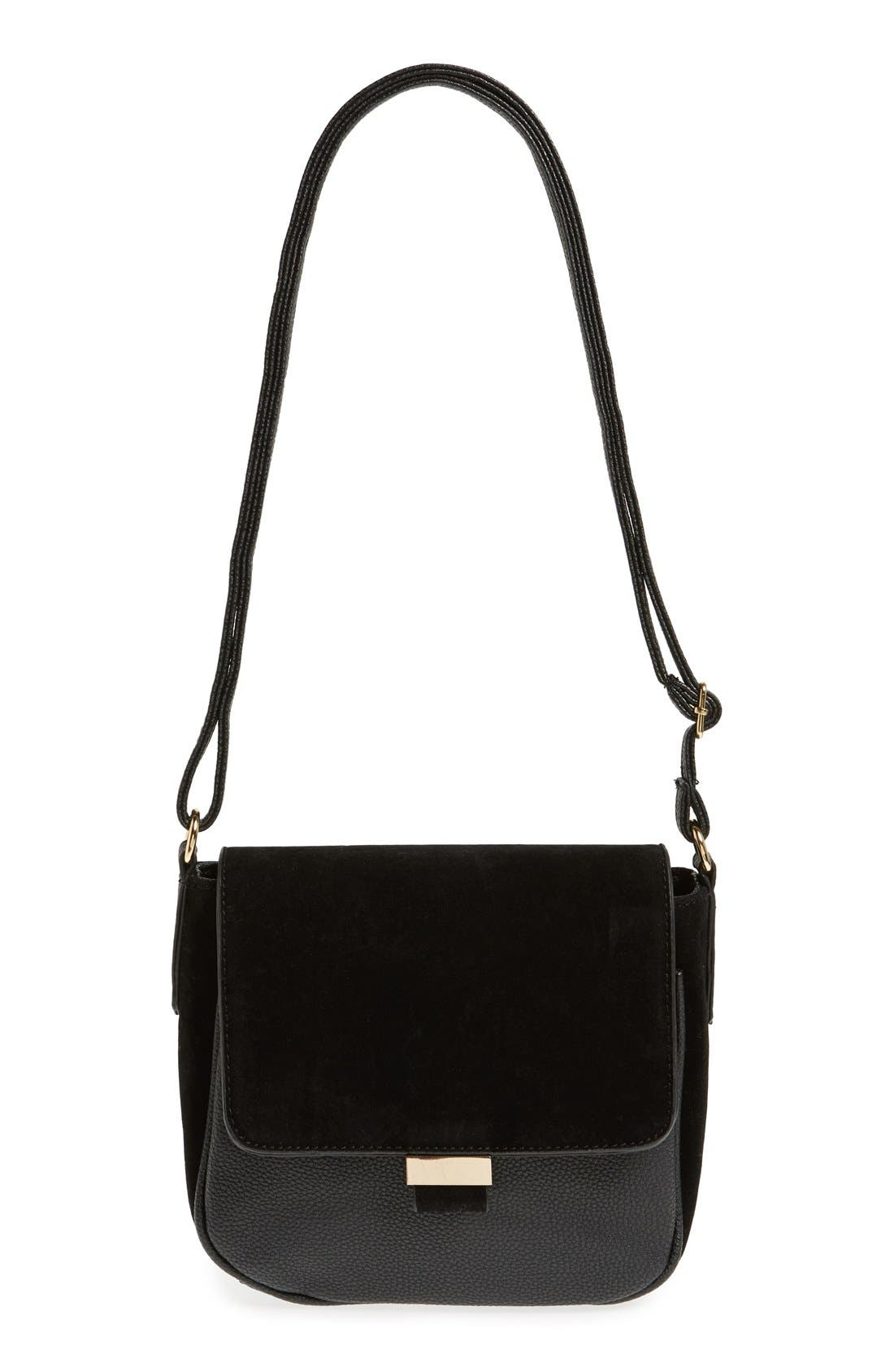 Alternate Image 1 Selected - NU-G Mixed Finish Saddle Crossbody Bag