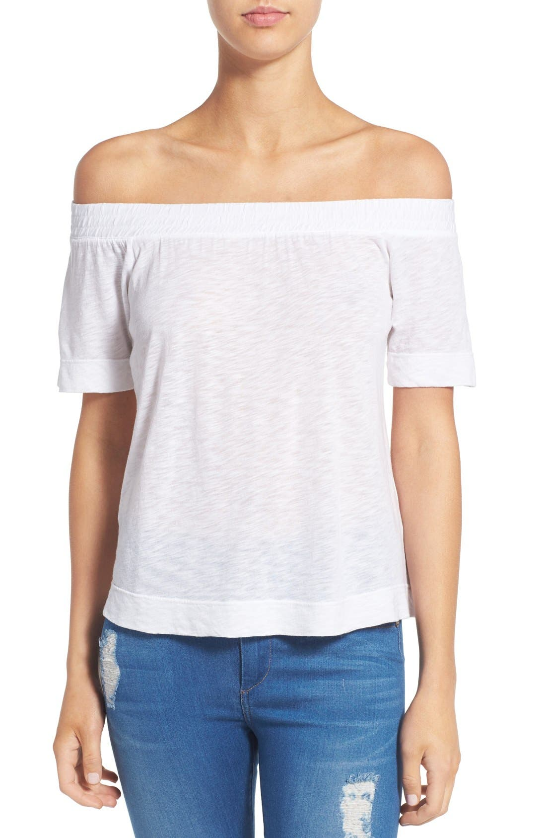 Main Image - Splendid Slub Knit Off the Shoulder Top