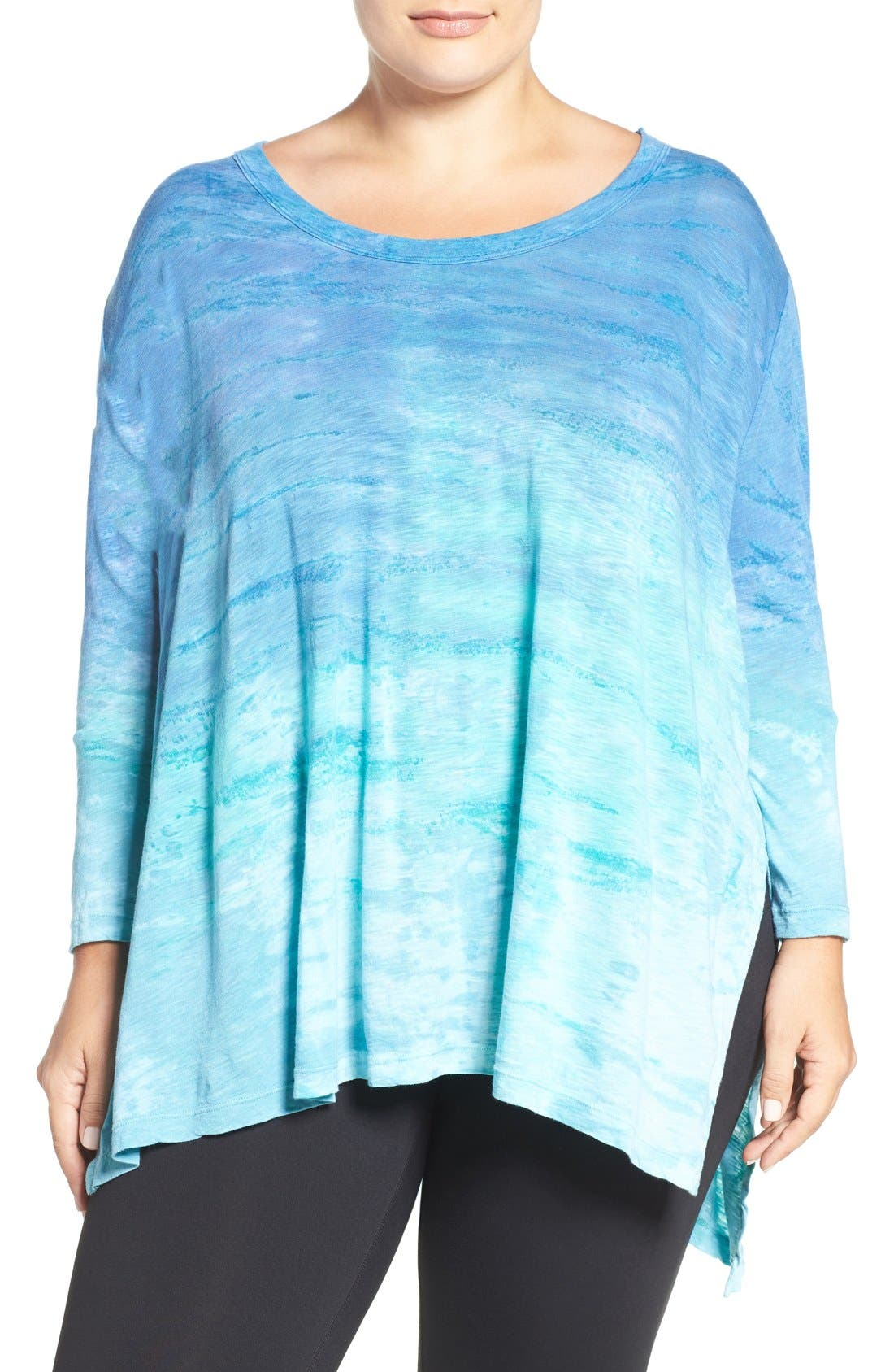 Main Image - Hard Tail Oversize Three-Quarter Sleeve Tee (Plus Size)