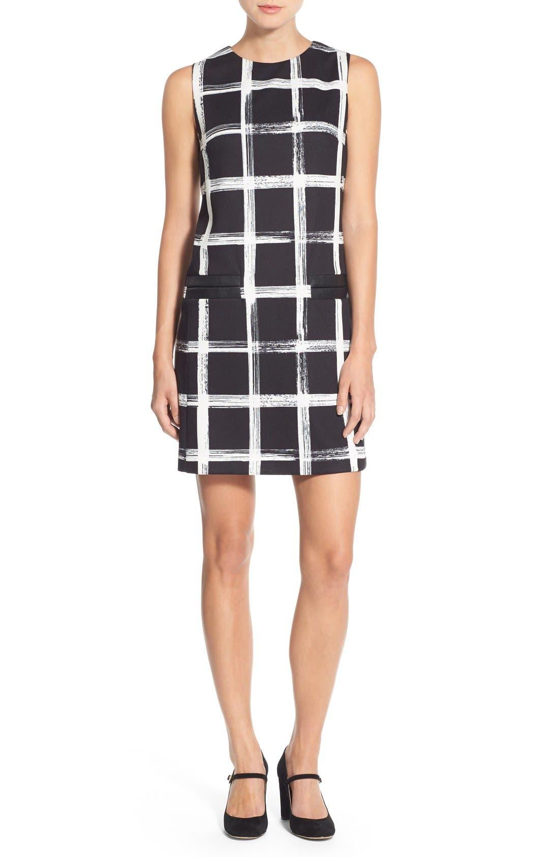 Alternate Image 4  - Eliza J Windowpane Print Ponte Shift Dress (Regular & Petite)