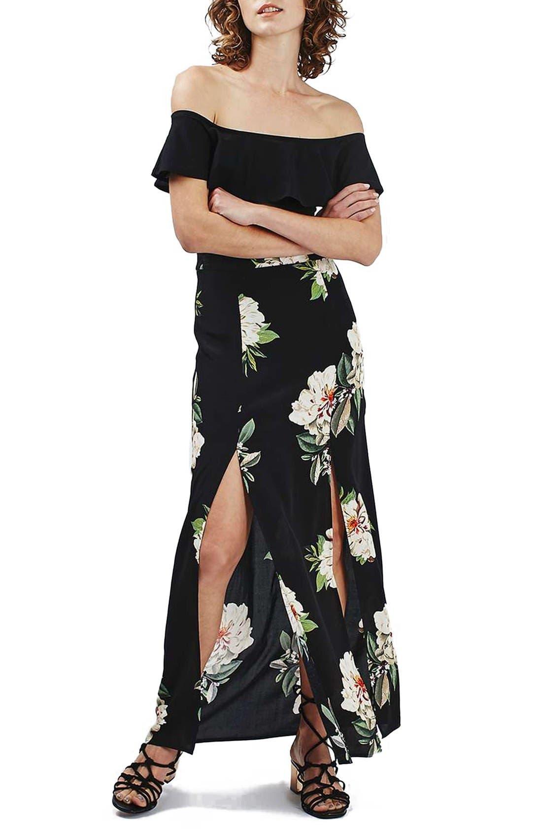 Alternate Image 2  - Topshop Floral Print Maxi Skirt