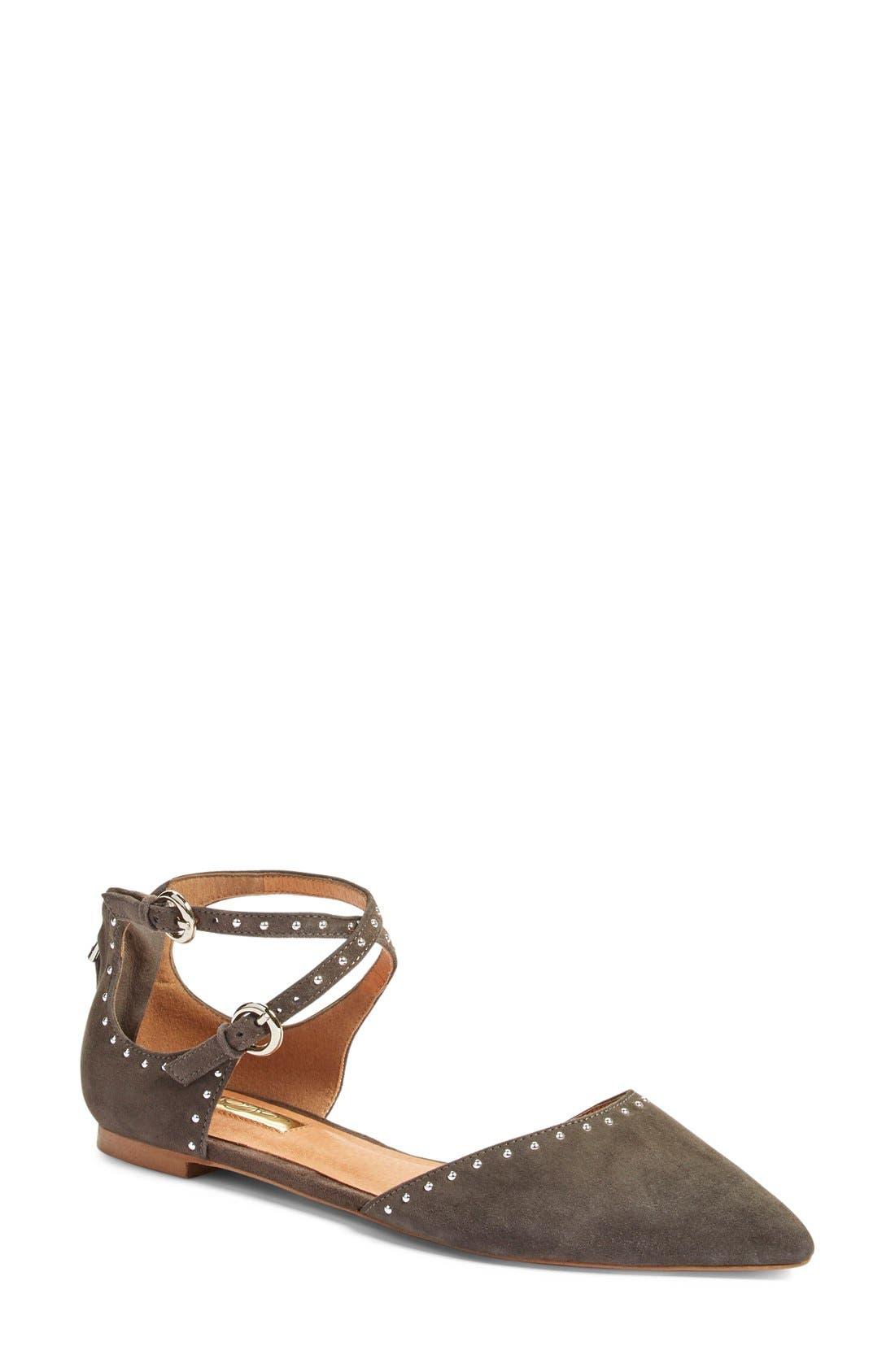 HALOGEN® 'Bristal' Ankle Strap Pointy Toe Flat