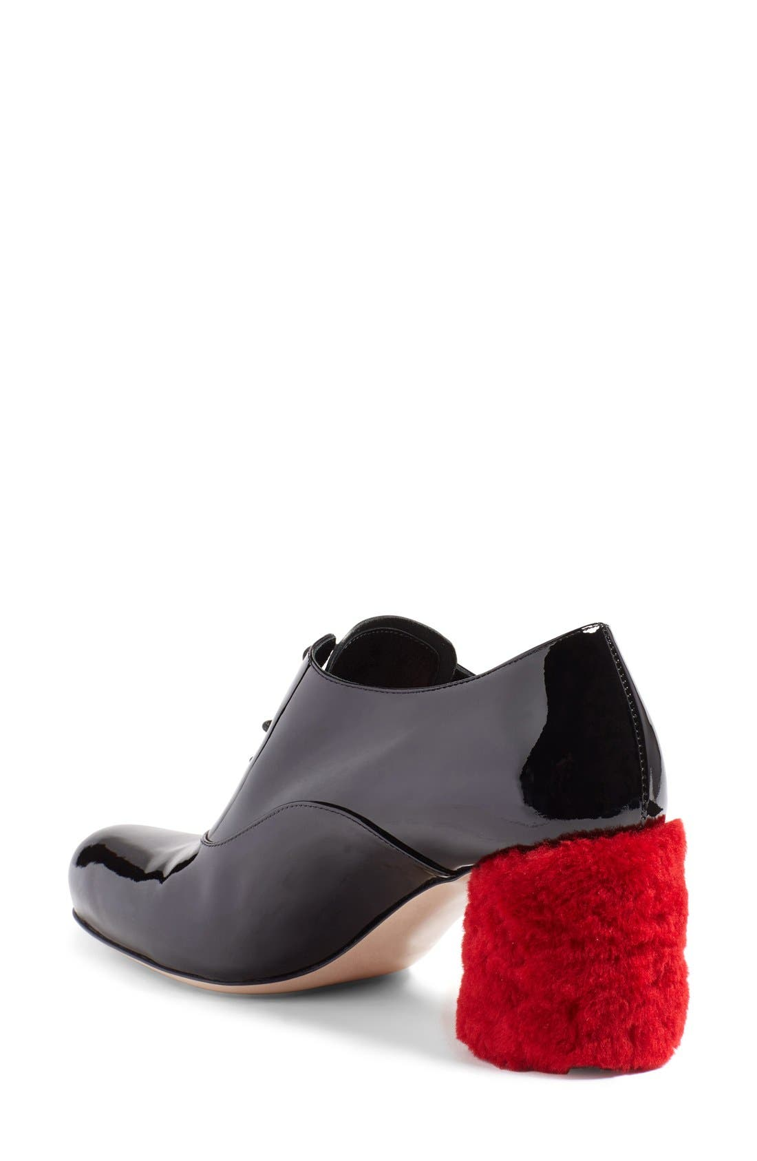 Alternate Image 2  - Miu Miu Genuine Shearling Block Heel Oxford Pump (Women)