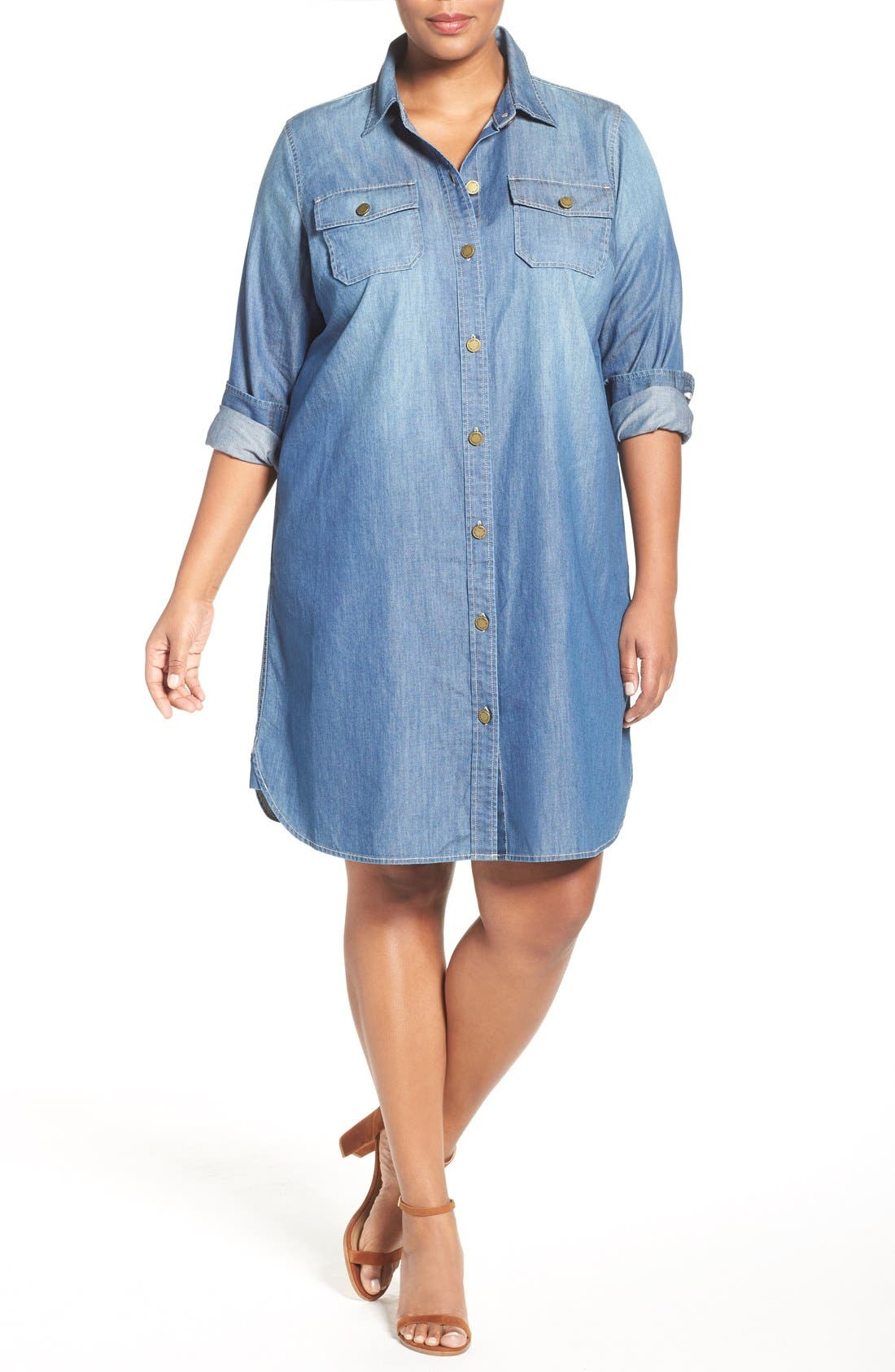 Alternate Image 4  - Two by Vince Camuto Denim Shirtdress (Plus Size)