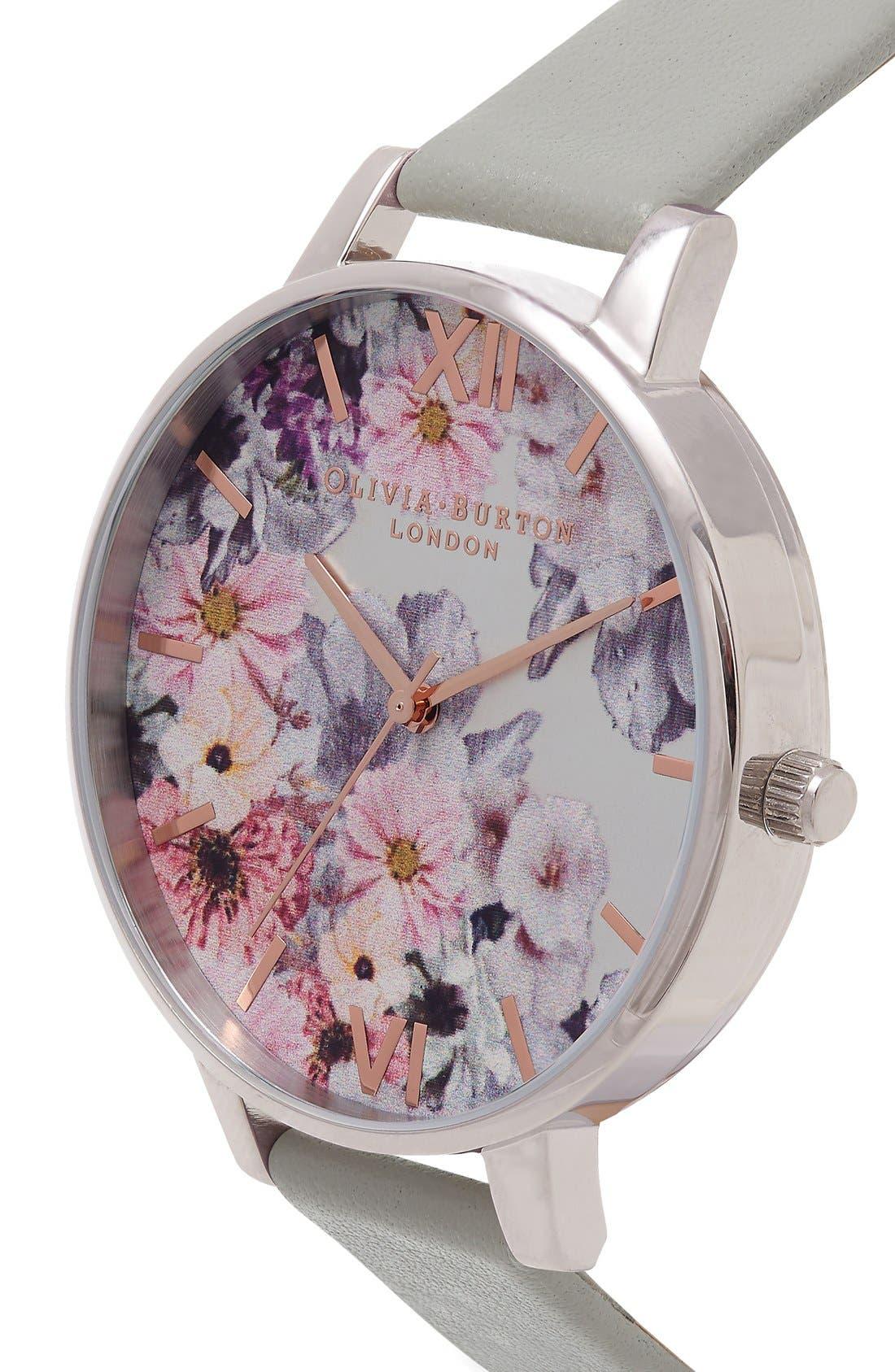 Alternate Image 3  - Olivia Burton Enchanted Garden Leather Strap Watch, 38mm