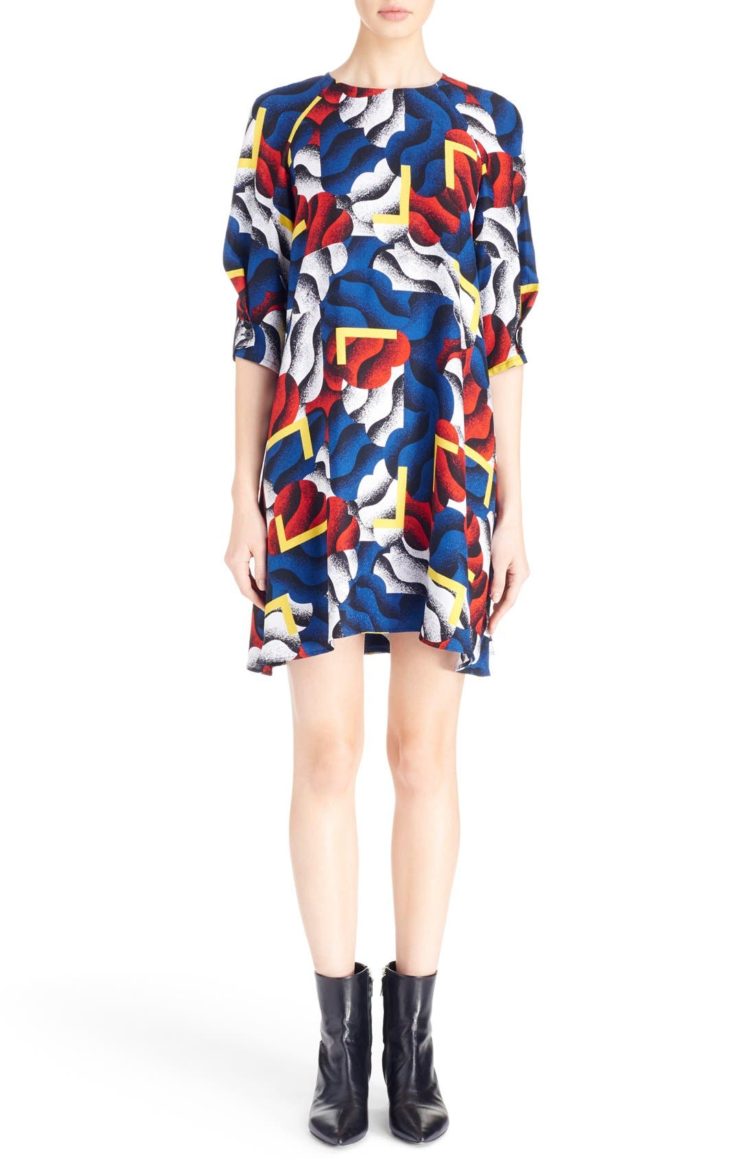 Alternate Image 1 Selected - KENZO 'Clouds & Corners' Print Silk Dress