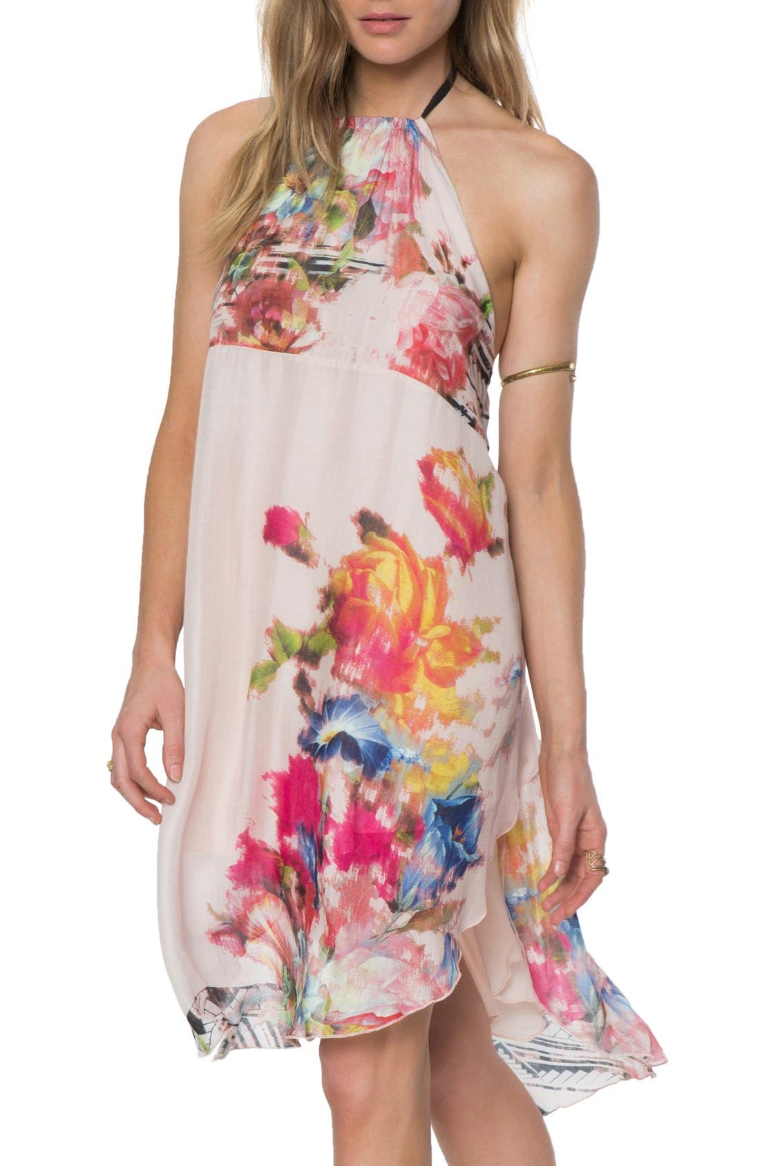 Alternate Image 1 Selected - O'Neill 'Rosette' Mixed Print Halter Dress
