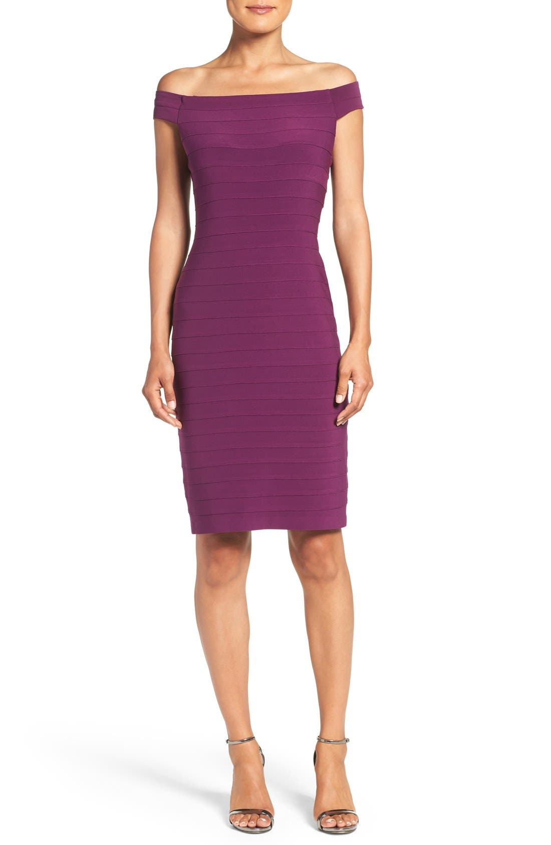 Adrianna Papell Off the Shoulder Bandage Dress