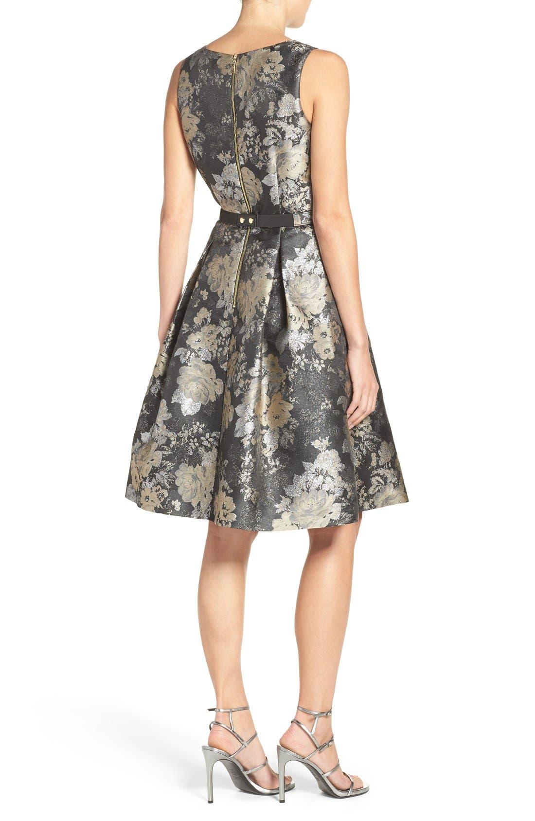 Alternate Image 2  - Eliza J Belted Jacquard Fit & Flare Dress (Regular & Petite)