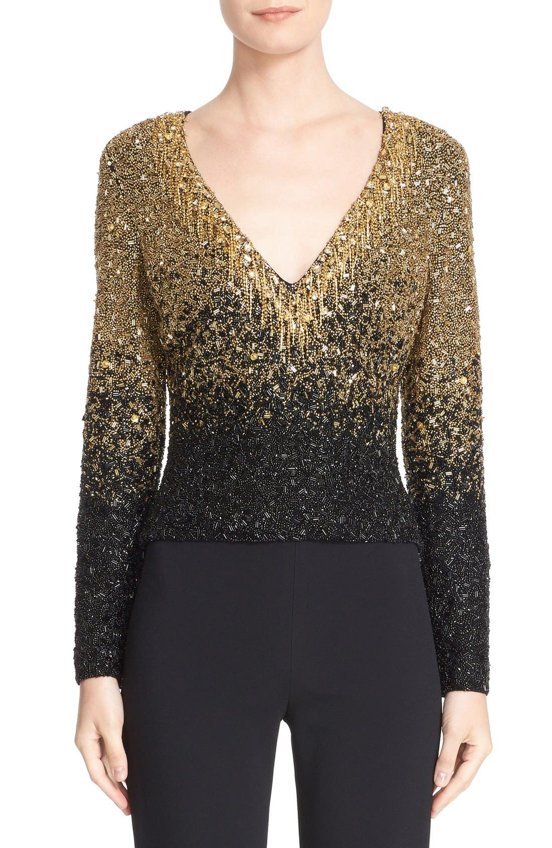 BADGLEY MISCHKA COUTURE. Badgley Mischka Couture Beaded V-Neck