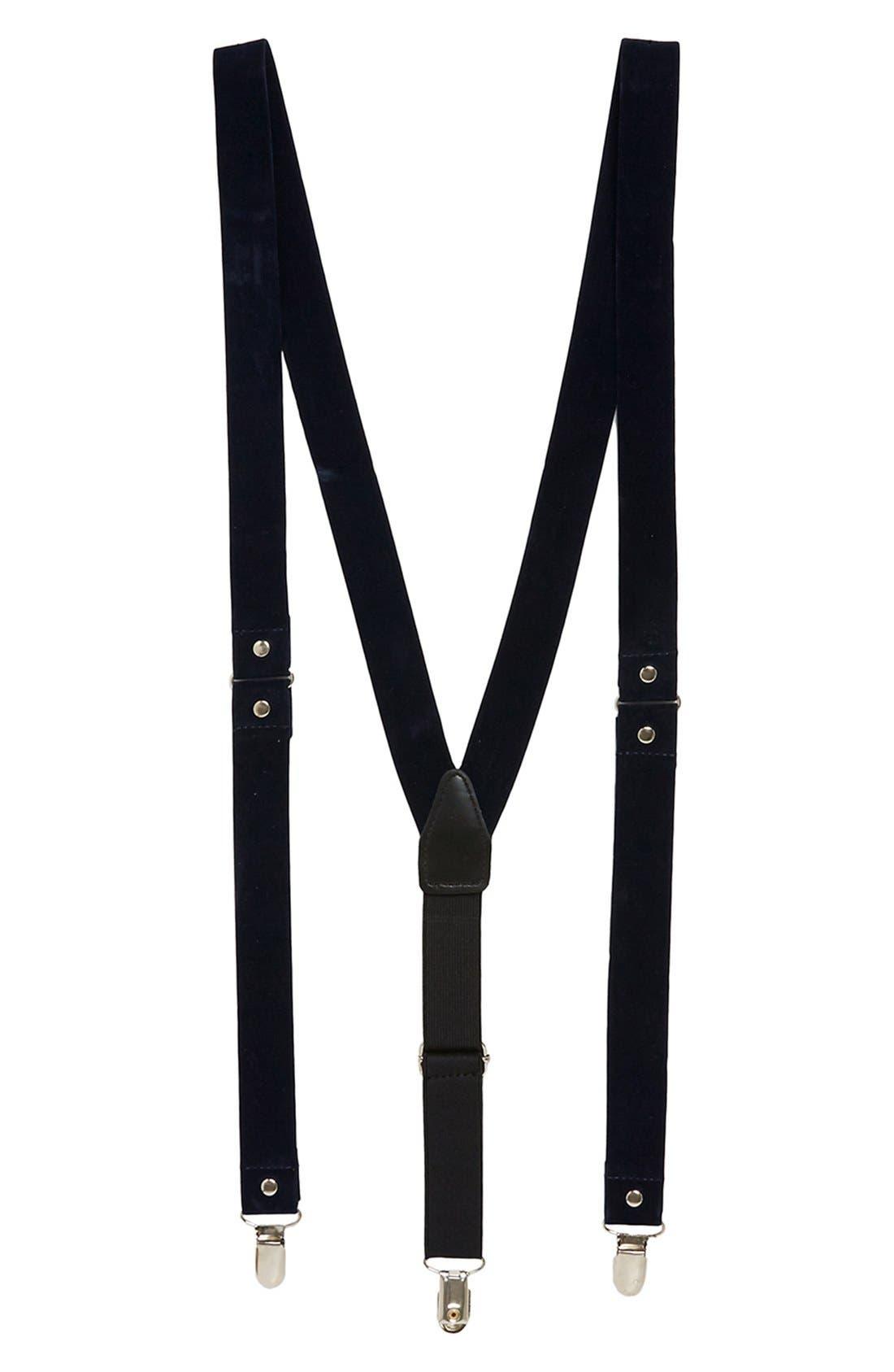 Main Image - Topman Blue Velvet Suspenders