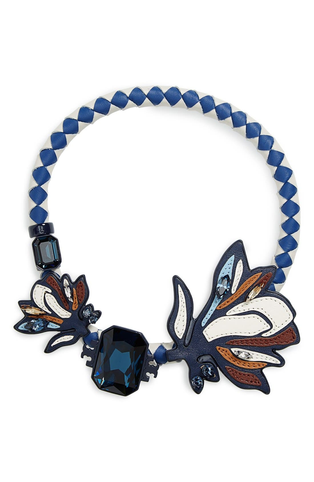 Alternate Image 1 Selected - Tory Burch Abstract Leather & Crystal Necklace