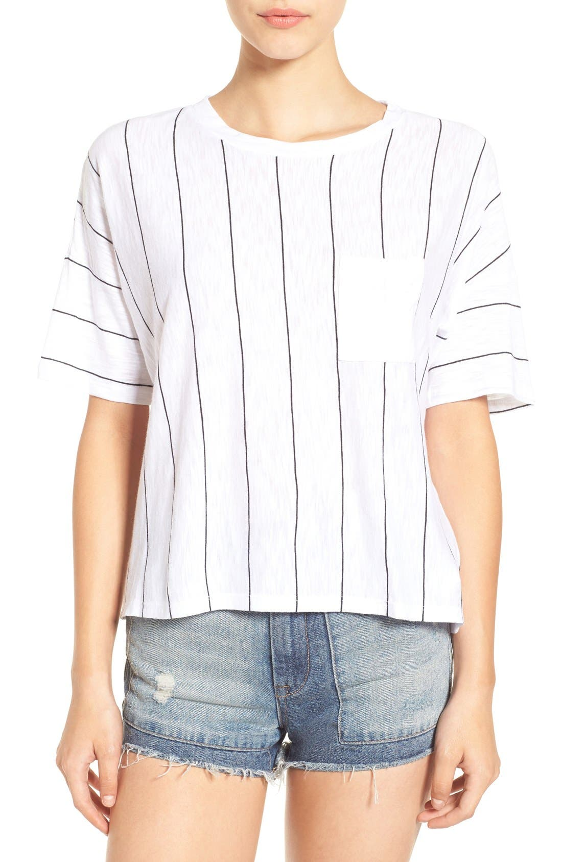 Alternate Image 1 Selected - Michelle by Comune Sideways Stripe Boxy Tee