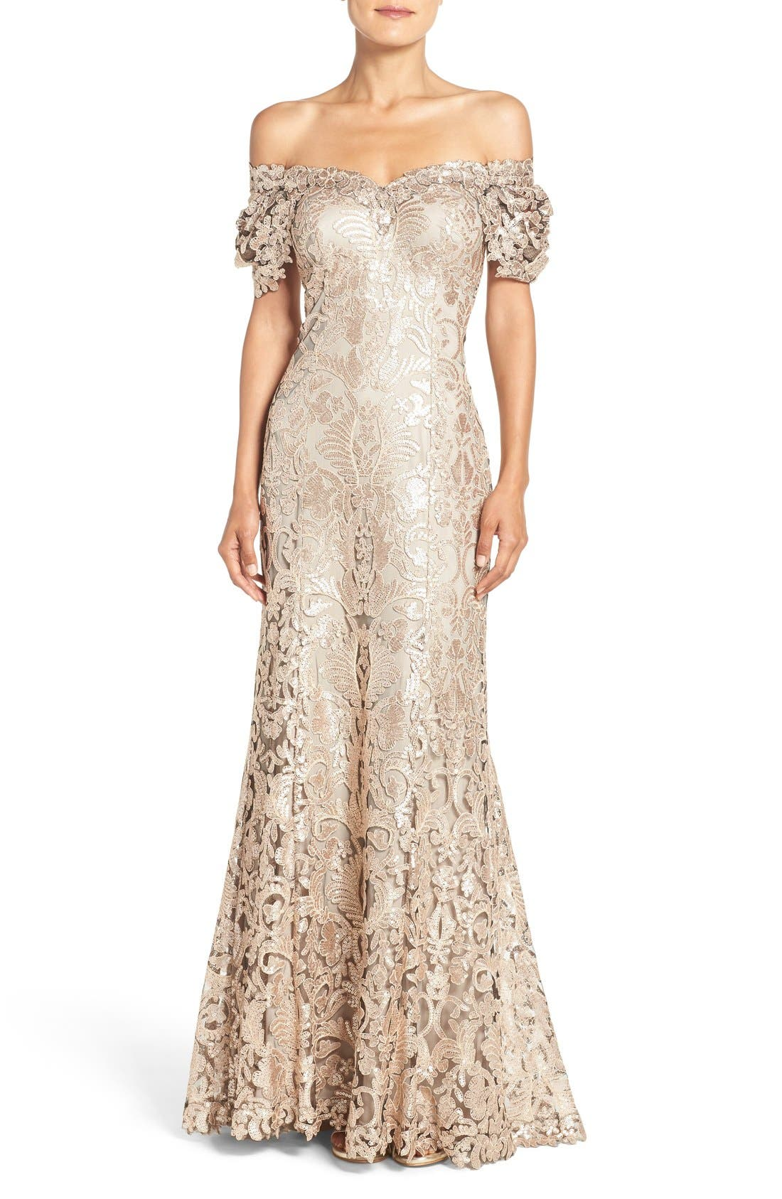Alternate Image 1 Selected - Tadashi Shoji Sequin Embroidered Mesh Gown