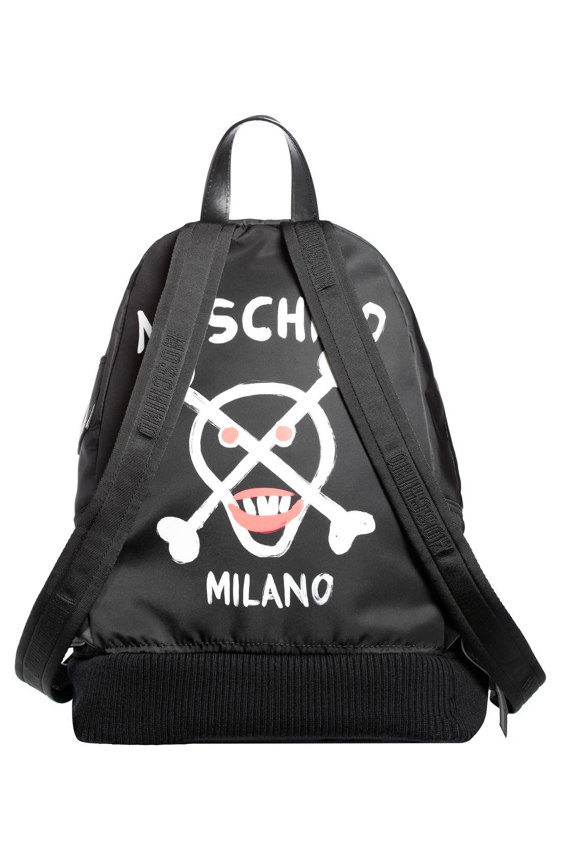 Alternate Image 2  - Moschino Bomber Skull Print Backpack