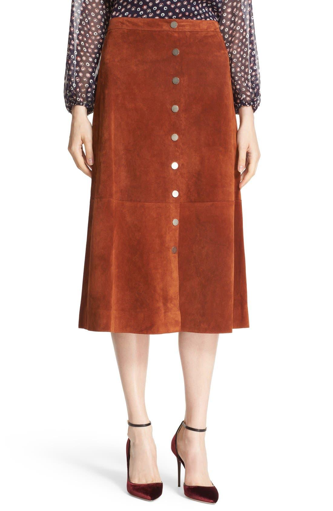 Main Image - Diane von Furstenberg 'Gracelynn' Suede Midi Skirt