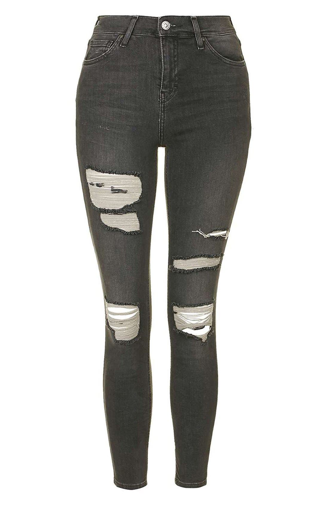 Alternate Image 4  - Topshop 'Jamie' Washed Super Ripped Skinny Jeans (Petite)