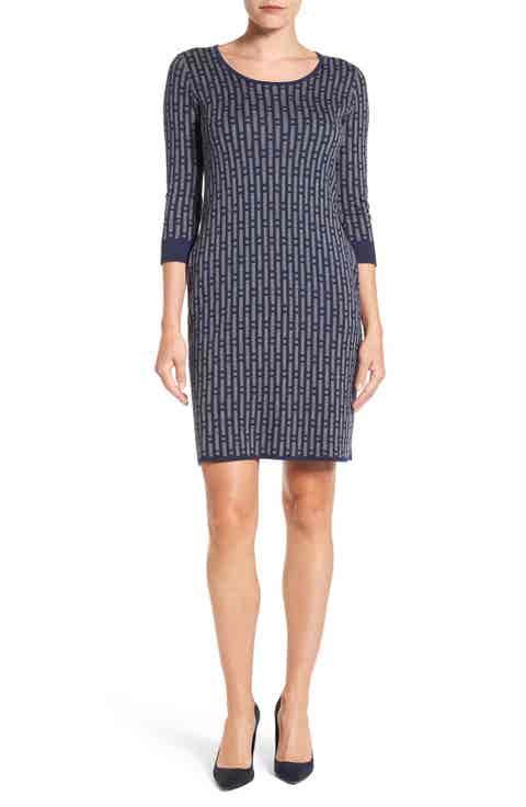 Foxcroft Geo Print Sweater Dress
