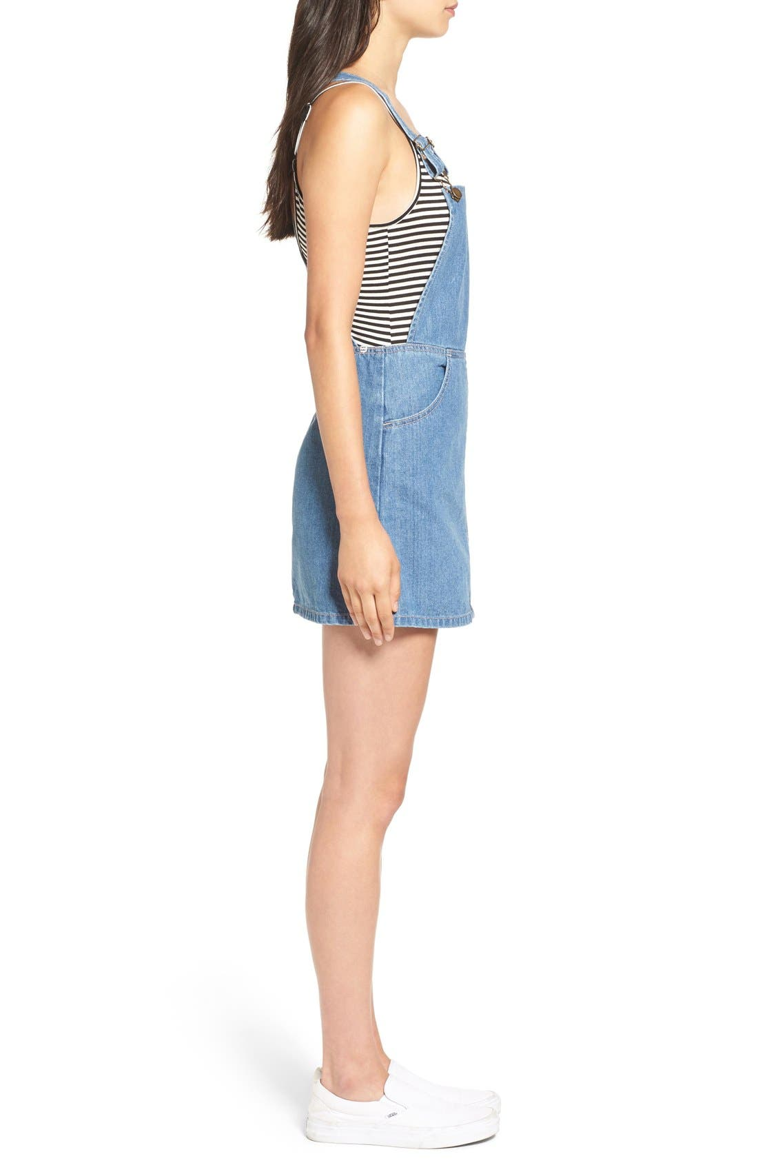 Alternate Image 3  - Billabong 'Saturdaze' Denim Pinafore Dress