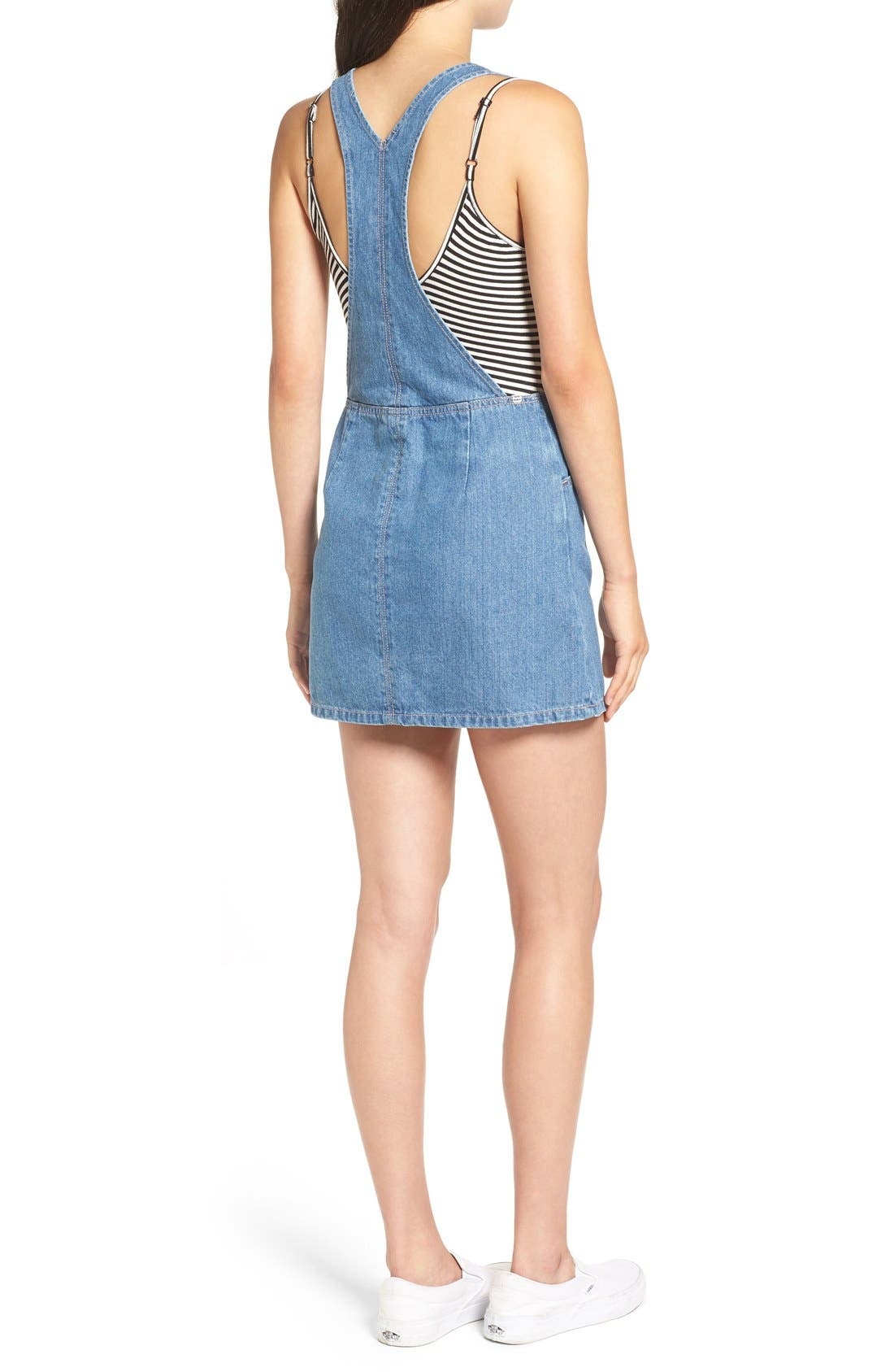 Alternate Image 2  - Billabong 'Saturdaze' Denim Pinafore Dress