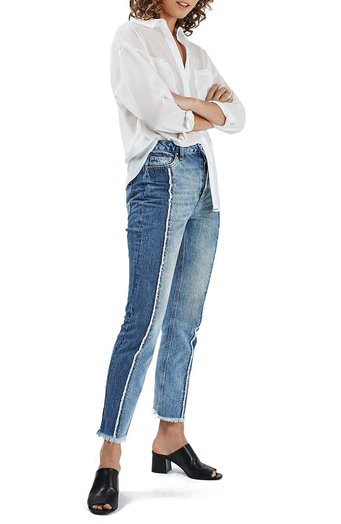 Alternate Image 2  - Topshop Panel Crop Straight Leg Jeans