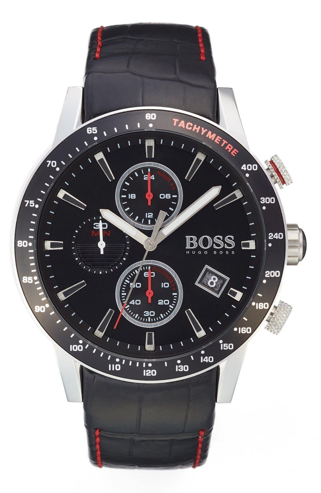 Main Image - BOSS 'Rafale' Chronograph Leather Strap Watch, 44mm