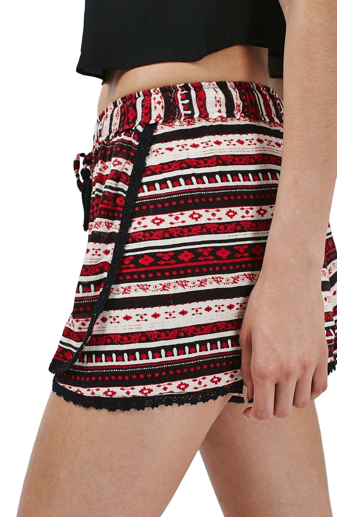 Alternate Image 5  - Topshop Crochet Trim Southwest Stripe Shorts