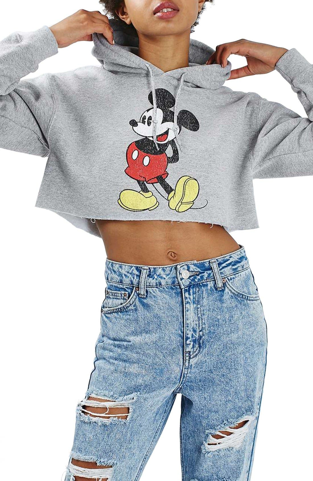 Main Image - Topshop Mickey Graphic Crop Hoodie