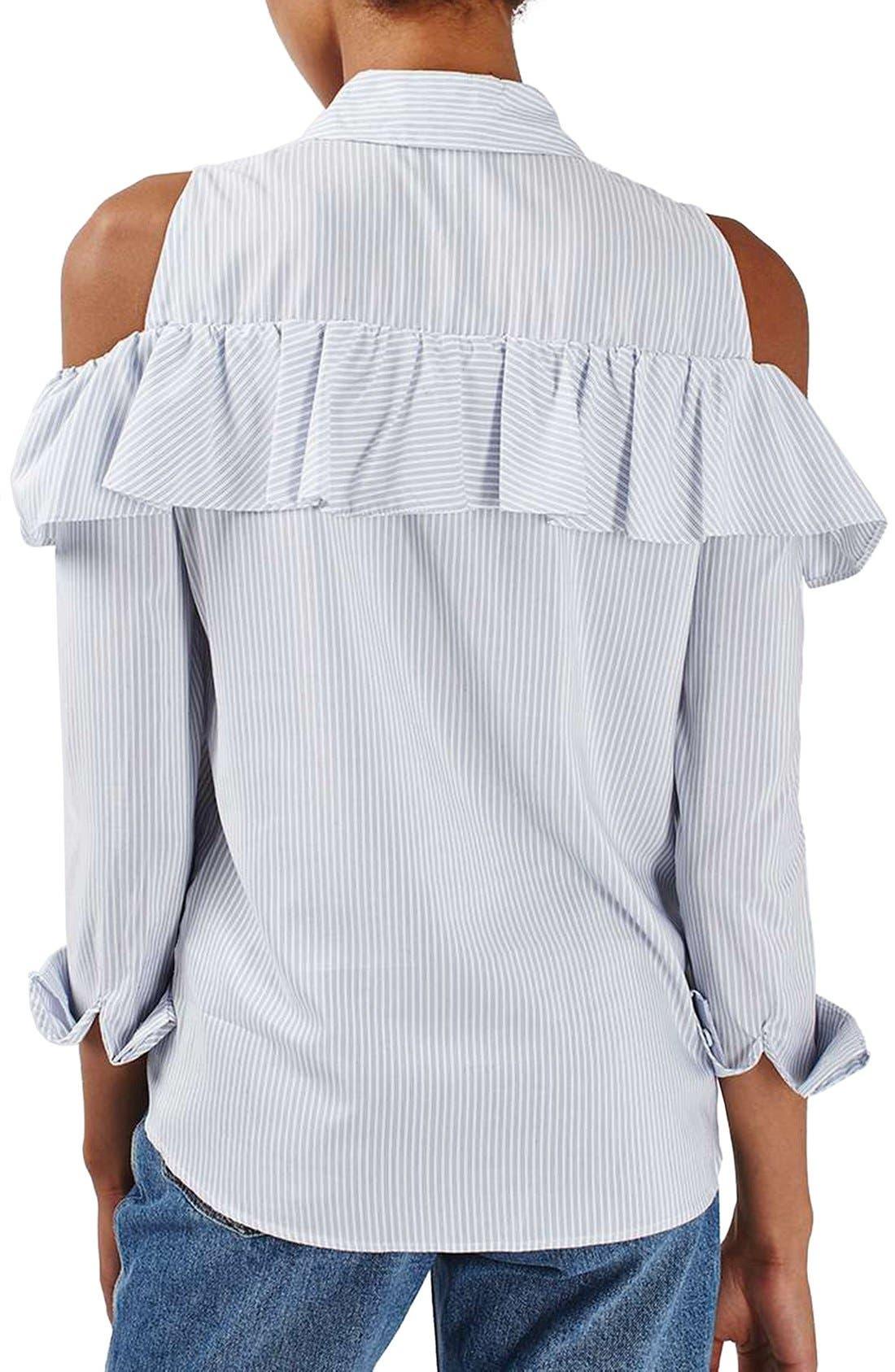 Alternate Image 3  - Topshop Stripe Ruffle Cold Shoulder Shirt