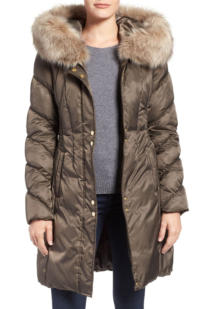 Via Spiga Water Repellent Quilted Puffer Coat With Faux
